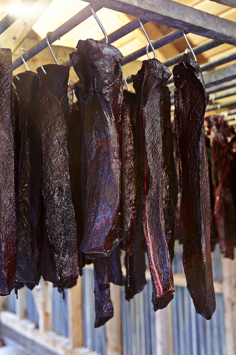 Drying pilot whale meat