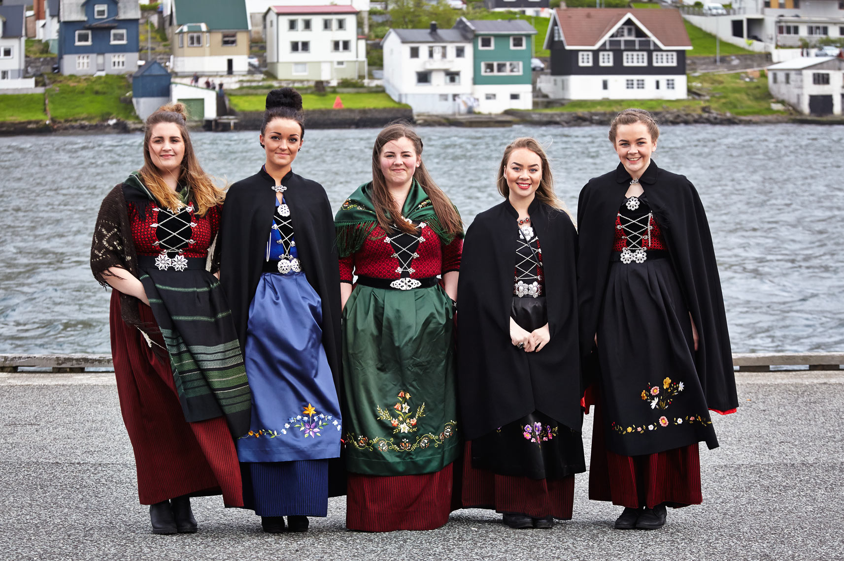Girls in trad Faroe dress