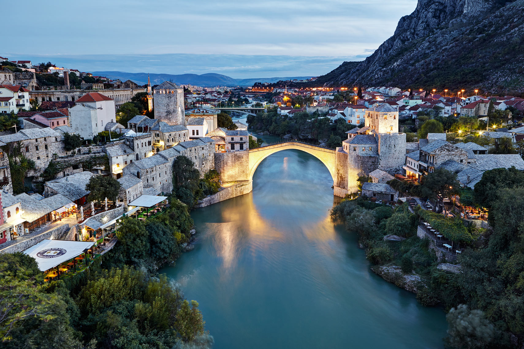 Mostar and Neretva River at dusk