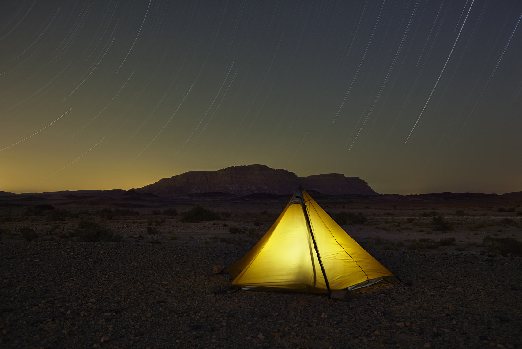 Tent with star trails at Makhtesh Ramon